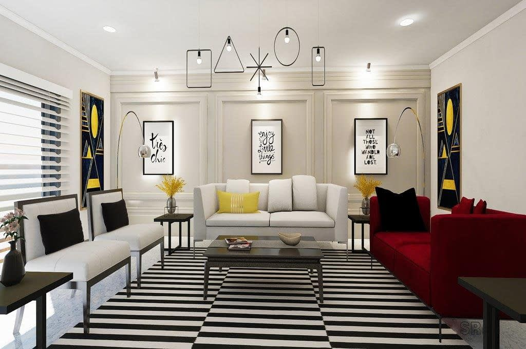 Black and white Living area design