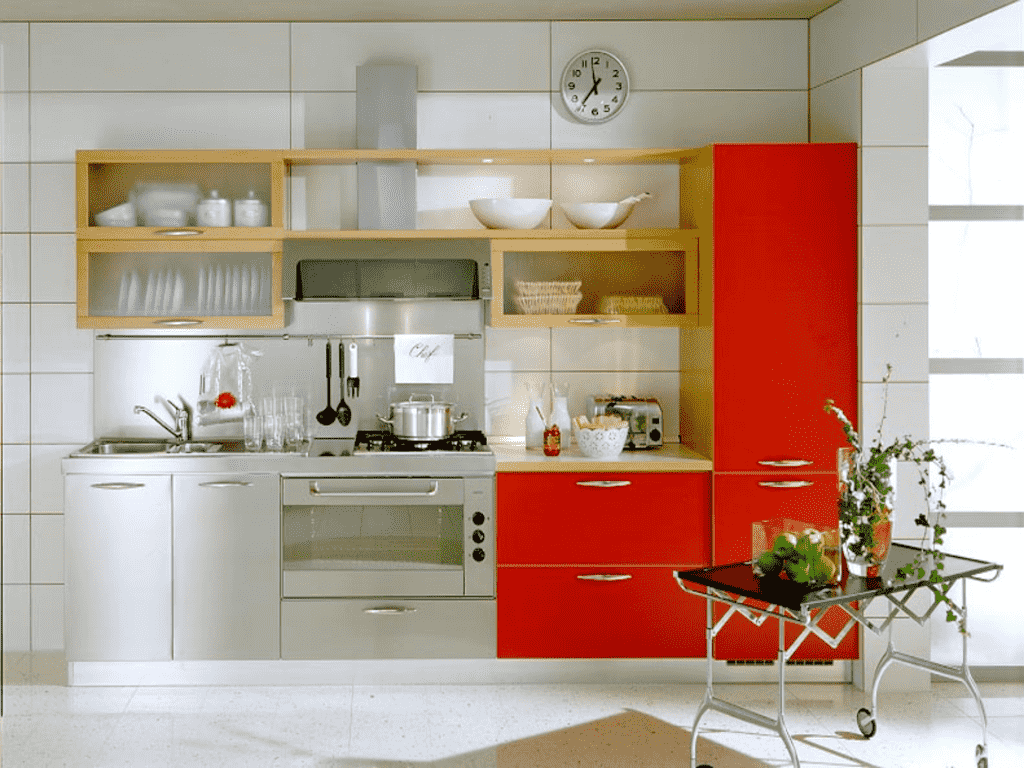Red-and-Silver-Kitchen 1