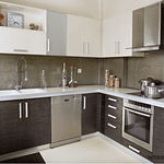 How to design and build a L Shaped Brown and white modular kitchen in chennai