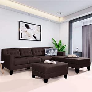 Brown L shape sofa