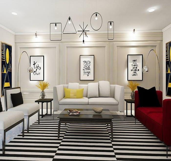 Black and white Living area design