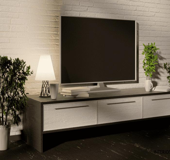 Dark brown and white TV unit