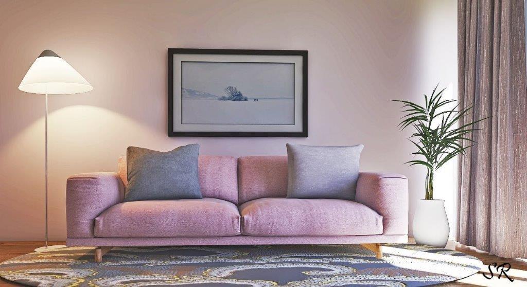 Sofa with floor lamp