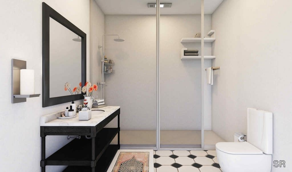 Black and white bathroom interiors