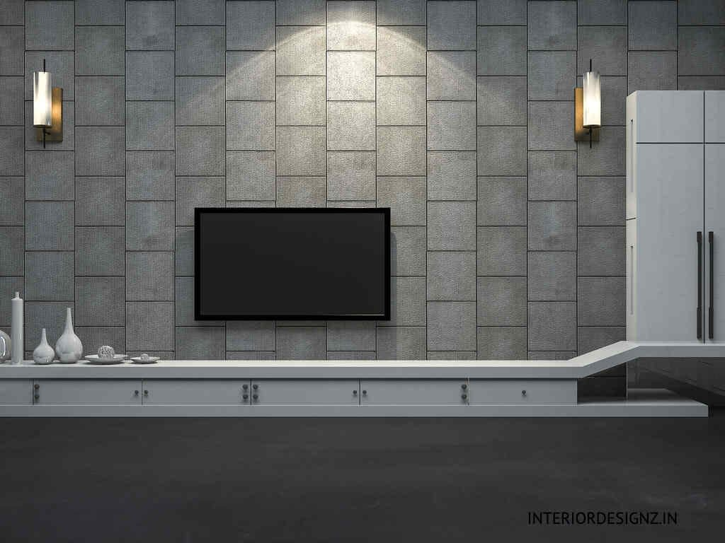 TV Unit with Wall Decor