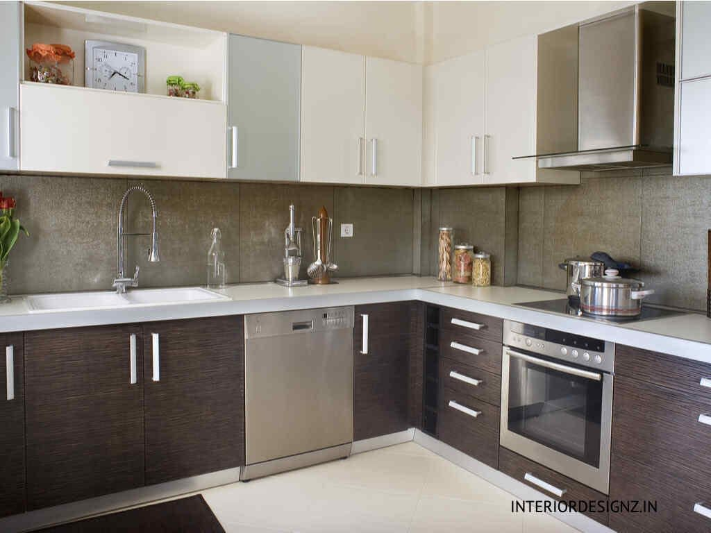 Brown and White color Kitchen