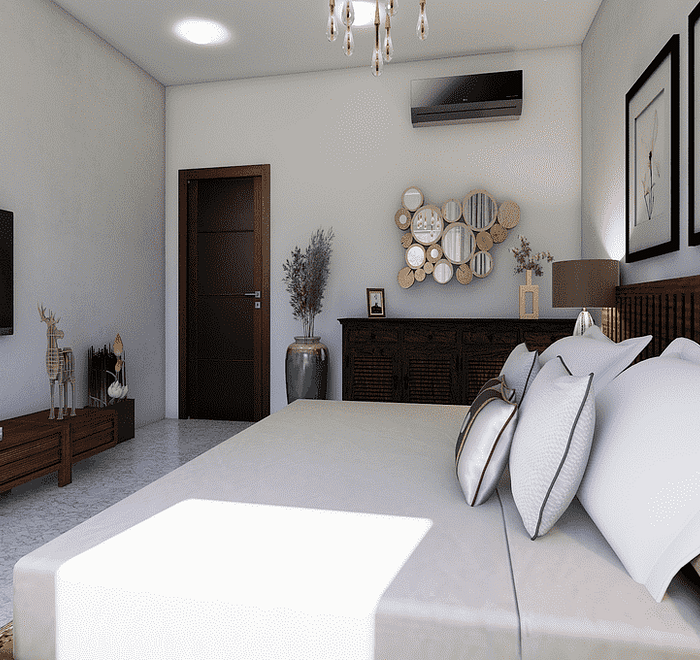 Bedroom white will tv ac