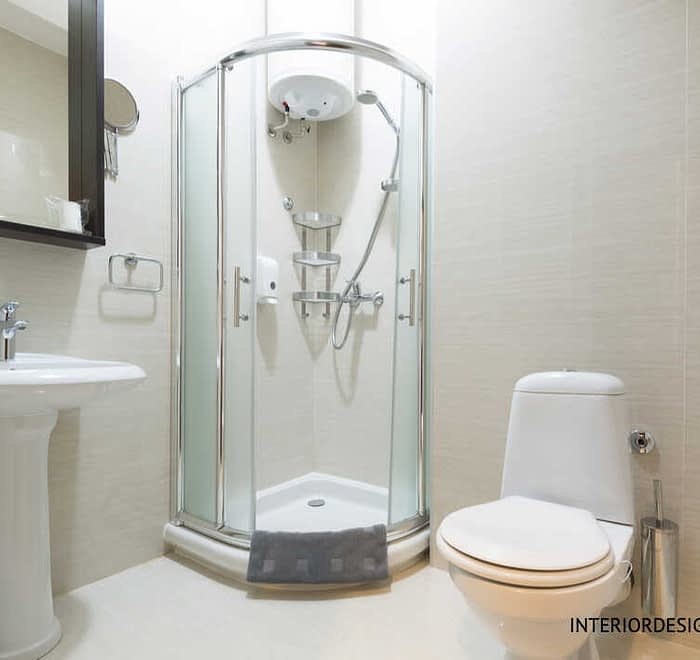 Compact bathroom with shower cubicle