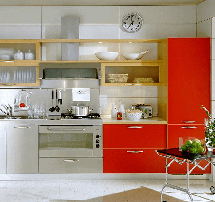 How to design and build a red and steel modular kitchen in chennai
