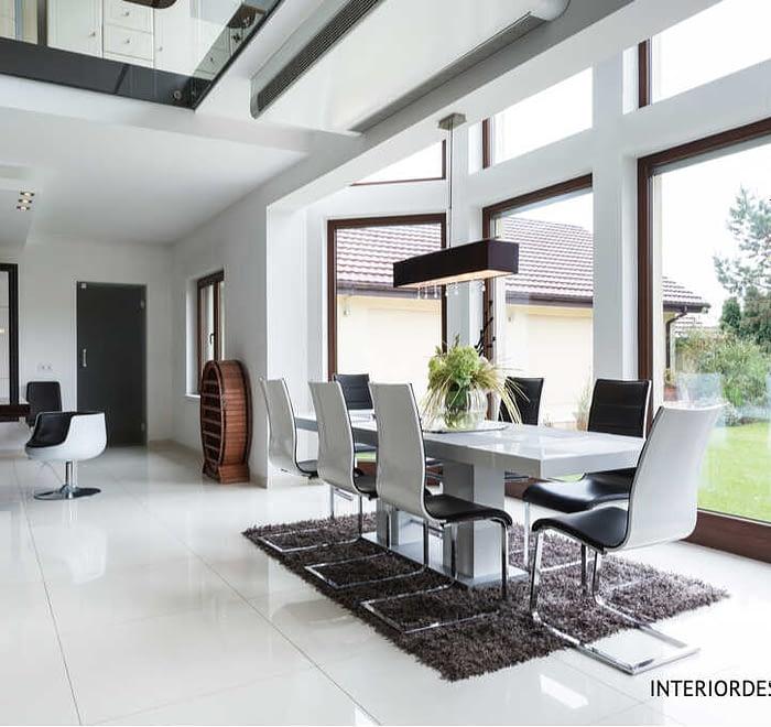 bLack & white dining area