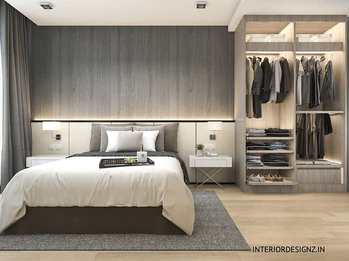 Wall panelling and wardrobe